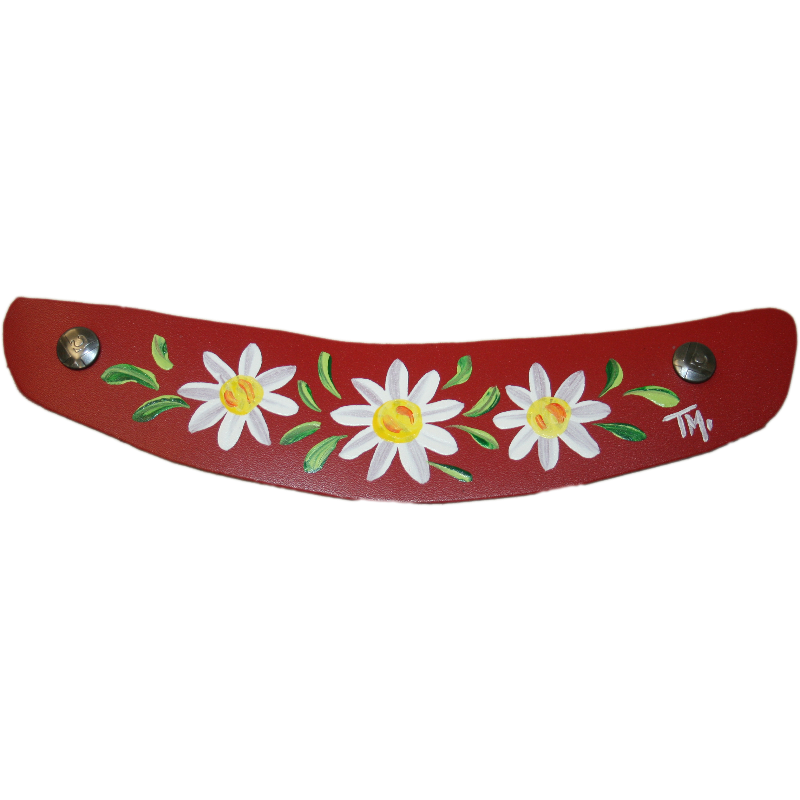 Hand Painted Daisy design on red leather Snap Strap