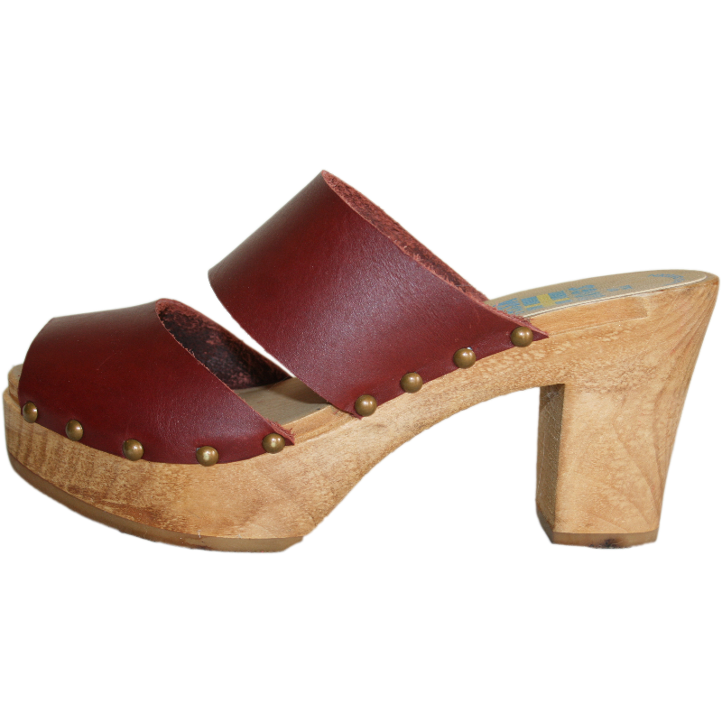 Ultimate High Two Strap Sandal in Red Mahogany Leather,