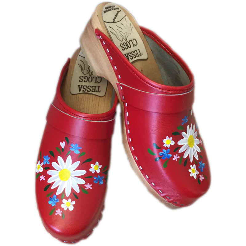 Traditional Heel Hand Painted Red Malin Clogs