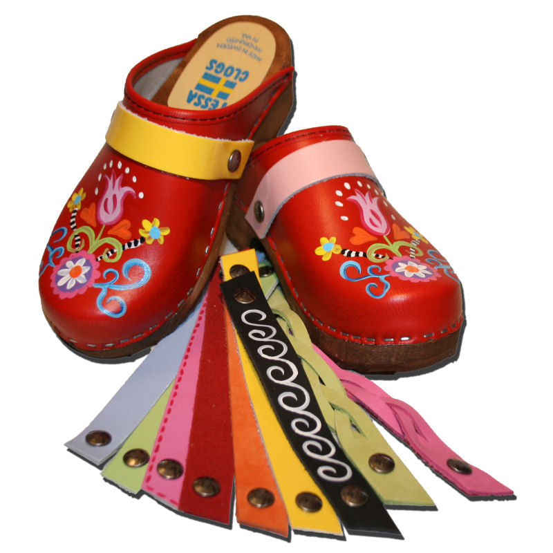 Traditional Heel Red Handpainted Rebecca Clog