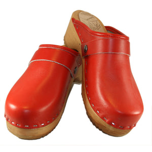 Men's Red Traditional Heel Wooden Clogs