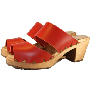 Red Vegetable Tanned High Heel Two Strap Sandal