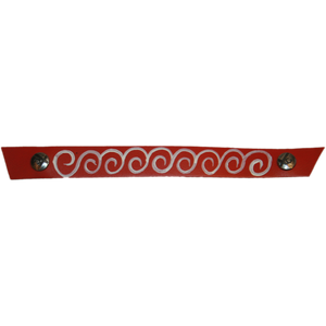 Narrow Red with Hand Painted White Swirl Snap Strap