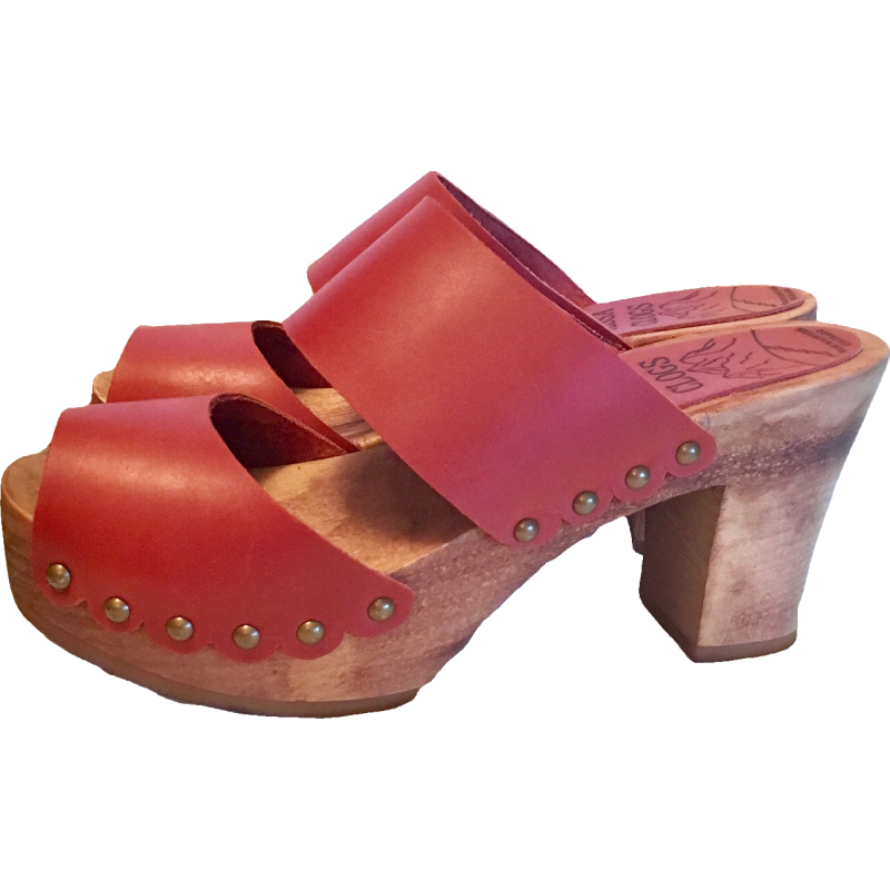 Rosehip Ultimate High Two Strap Sandal with Scalloped Edge