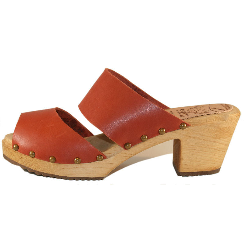 Burnt Orange Two Strap Sandal High Heel