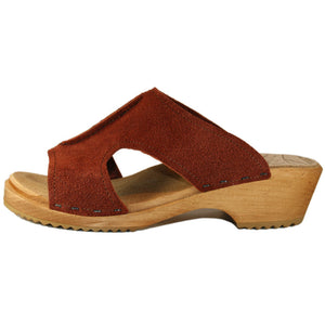 Tessaclogs Birgit Sandal in Rust Suede on a Traditional Heel