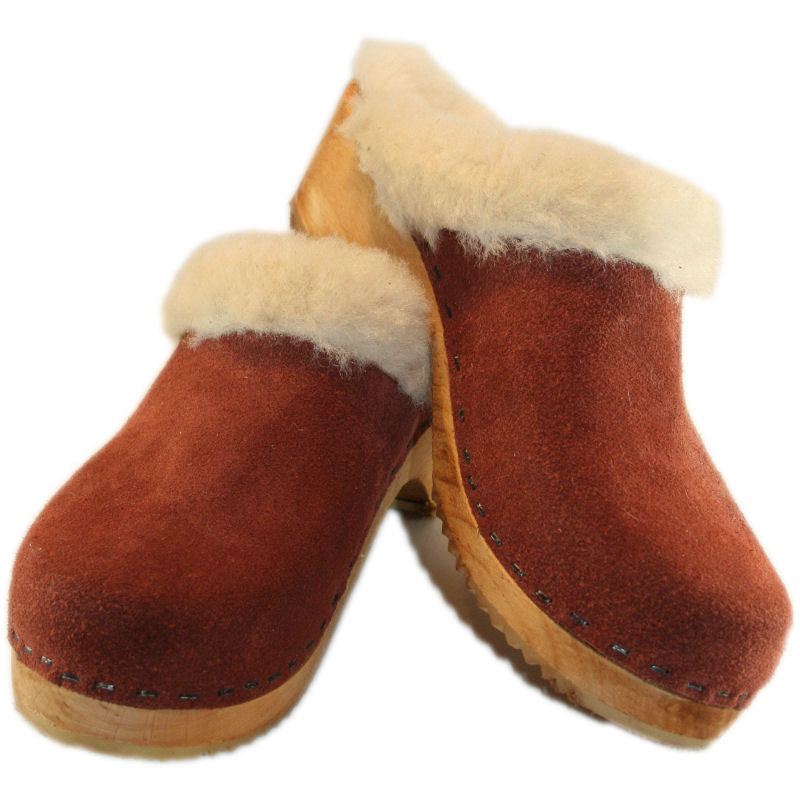 Traditional Heel Rust Suede Shearling