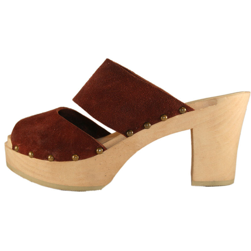 Rust Suede Ultimate High Sandal finished with Decorative Nails