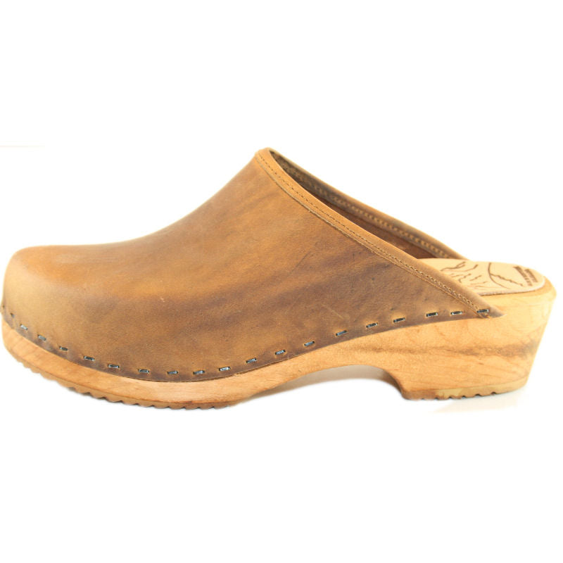 Traditional Heel Rustic Brown Oil Tanned Leather Plain