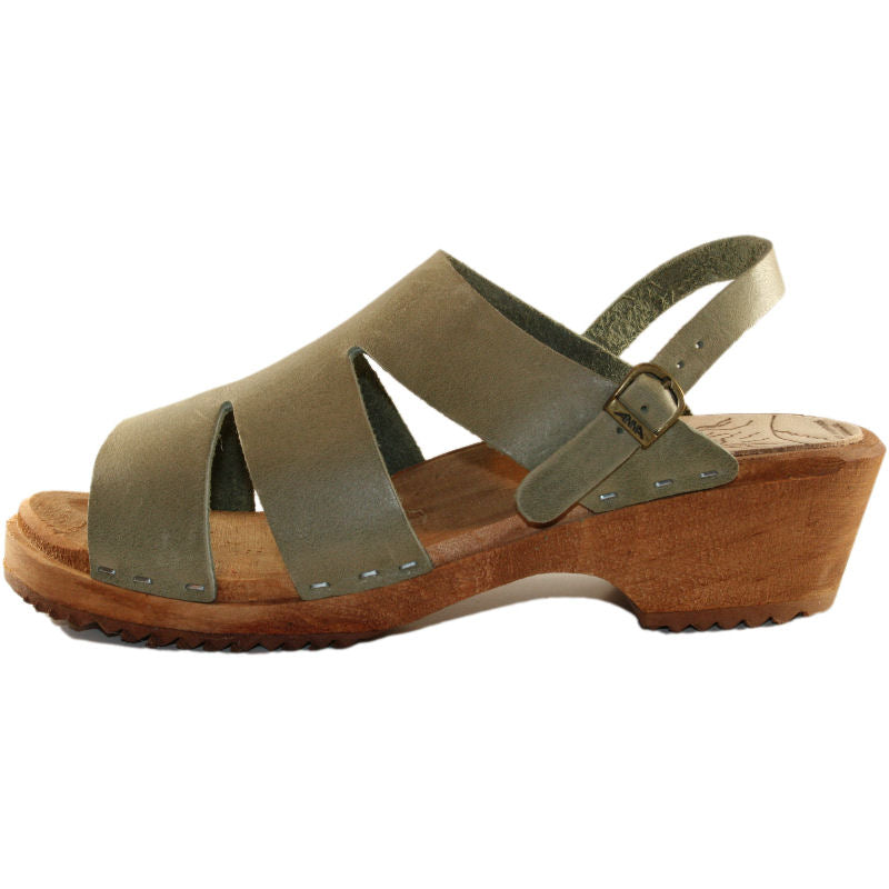 Sage Green Traditional Heel Sandal Kristina with Heel Strap