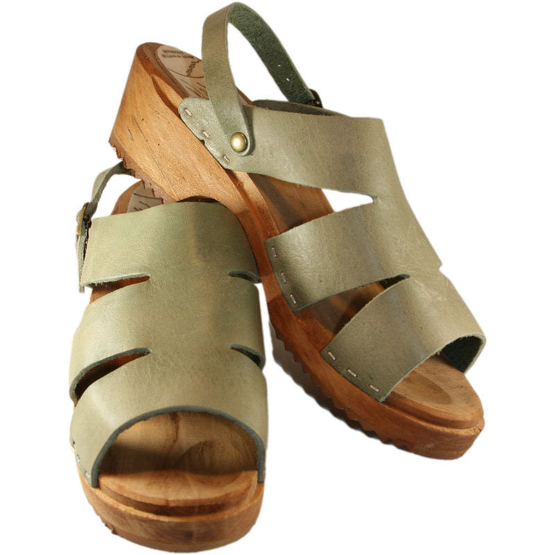 Traditional Heel Kristina Sandal in Sage Green