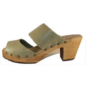 High Heel Two Strap Sandal in Sage Green Leather
