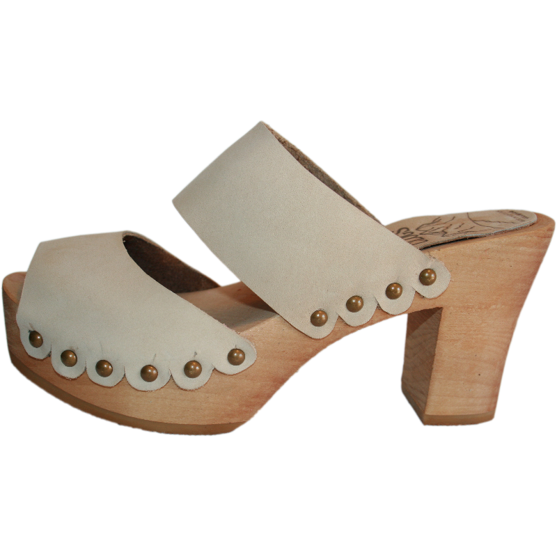 Ultimate High Two Strap Sandal with Scalloped edge in Sand Nubuck