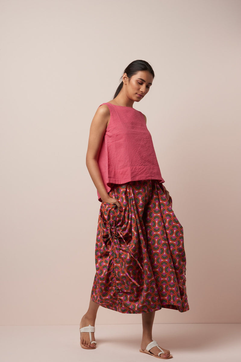 Asha Cotton Floral Print Freija Skirt in Orange-Pink