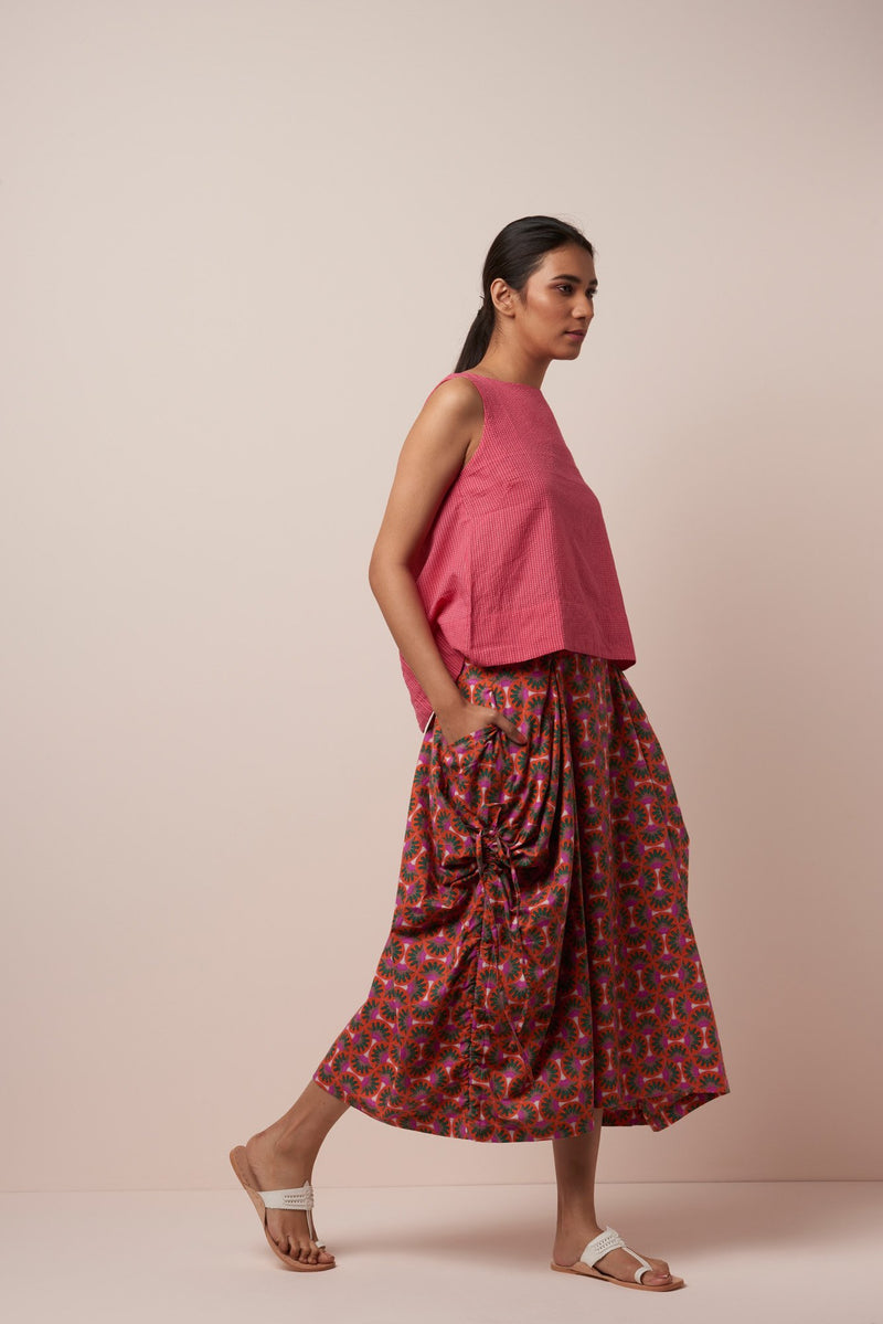 Ruched Freiaj Skirt in Orange-Pink Floral