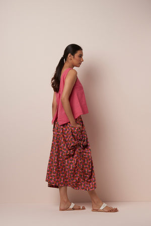 Asha FreijaAsha Skirt big pockets Orange-Pink Floral Print