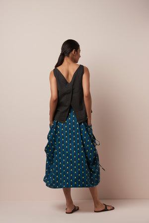 Asha Cotton Print Freija Skirt in Teal