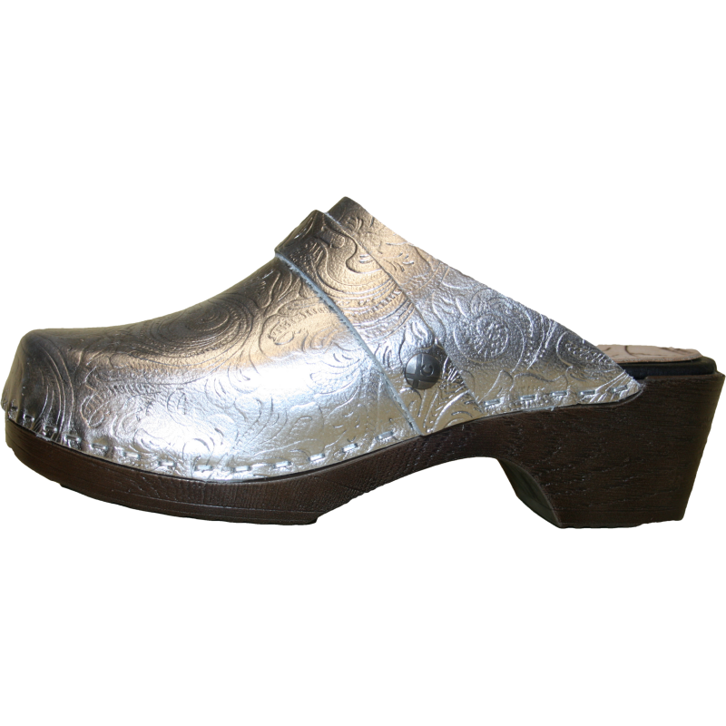 Flexible Tessa Clog in limited edition Silver embossed leather