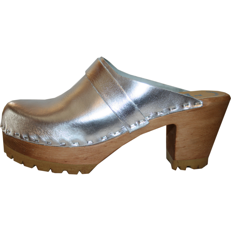 Silver Metallic High Heel Mountain Tessa Clog