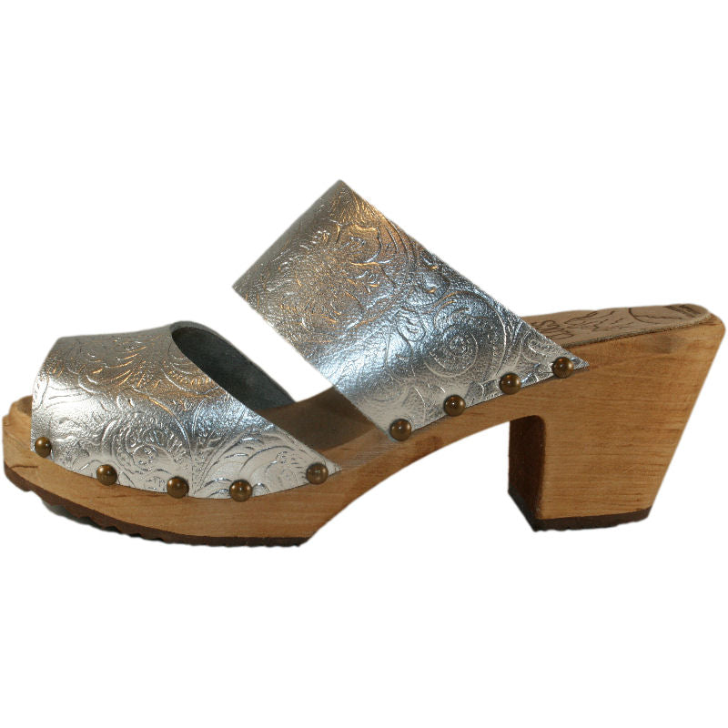 Silver Embossed Leather Two Strap Sandal