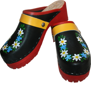Hand Painted Black and Red  Mountain Clogs with Cornflower design