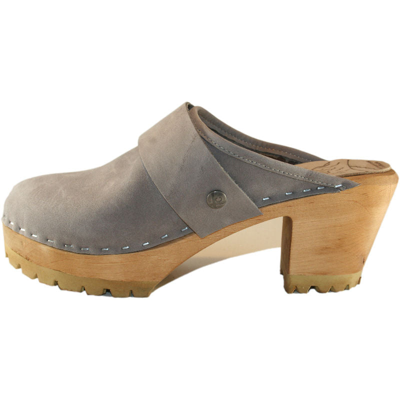 High Heel Mountain clogs in Steel Nubuck with Wide  snap straps