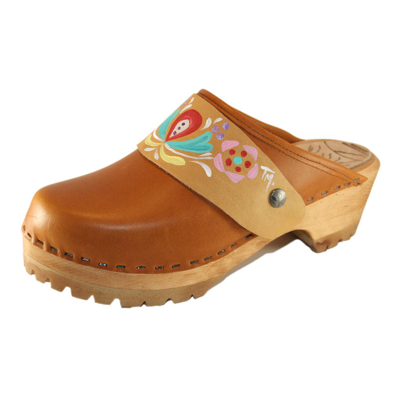Sunrise Oil Tanned Leather Mountain Clogs with Hand Painted Astrid Strap