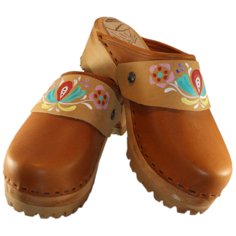 Sunrise Oil Tanned Leather Mountain Clogs with Hand Painted Strap