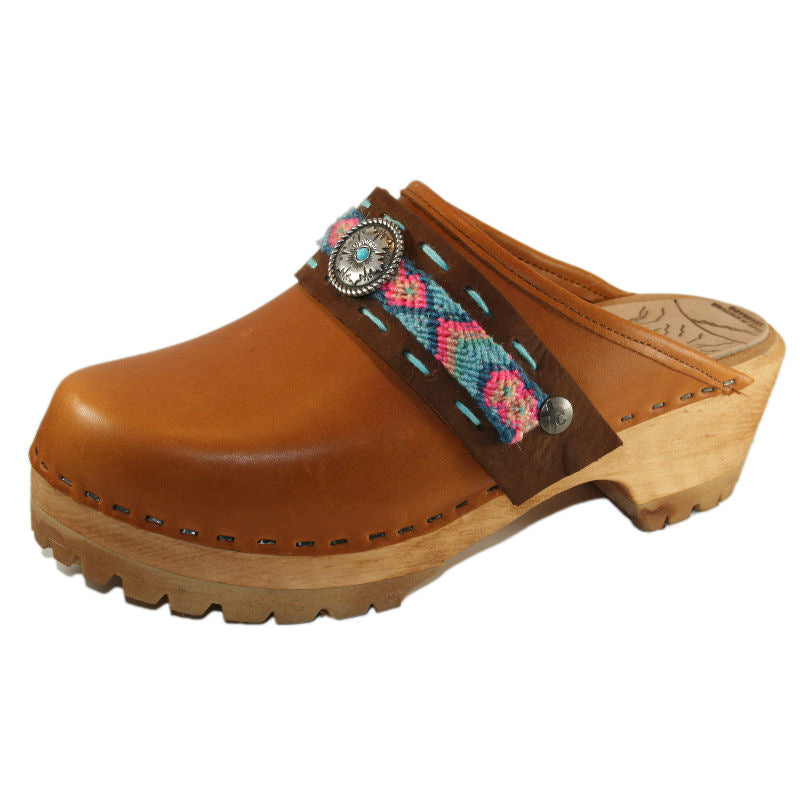 Sunrise Oil Tanned Leather Mountain Clogs with Limited Edition Boho Strap Willow