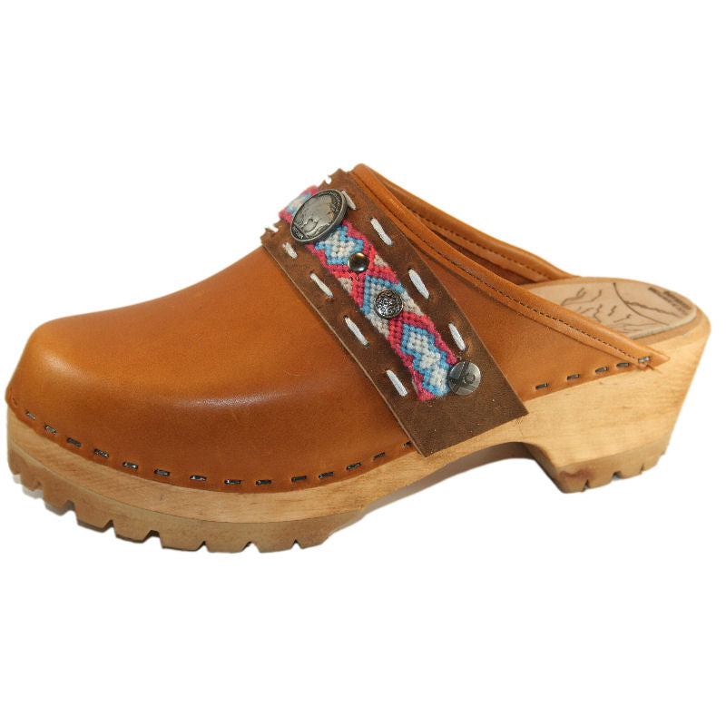 Sunrise Oil Tanned Leather Mountain Clogs with Limited Edition Boho Strap Clementine