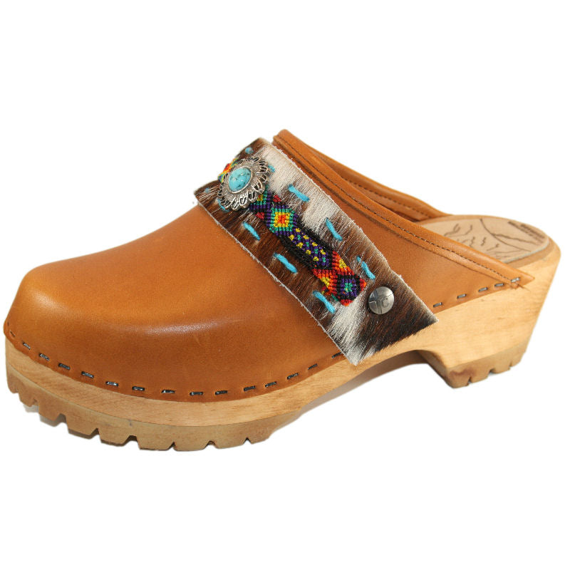 Sunrise Oil Tanned Leather Mountain Clogs with Limited Edition Boho Strap Janey