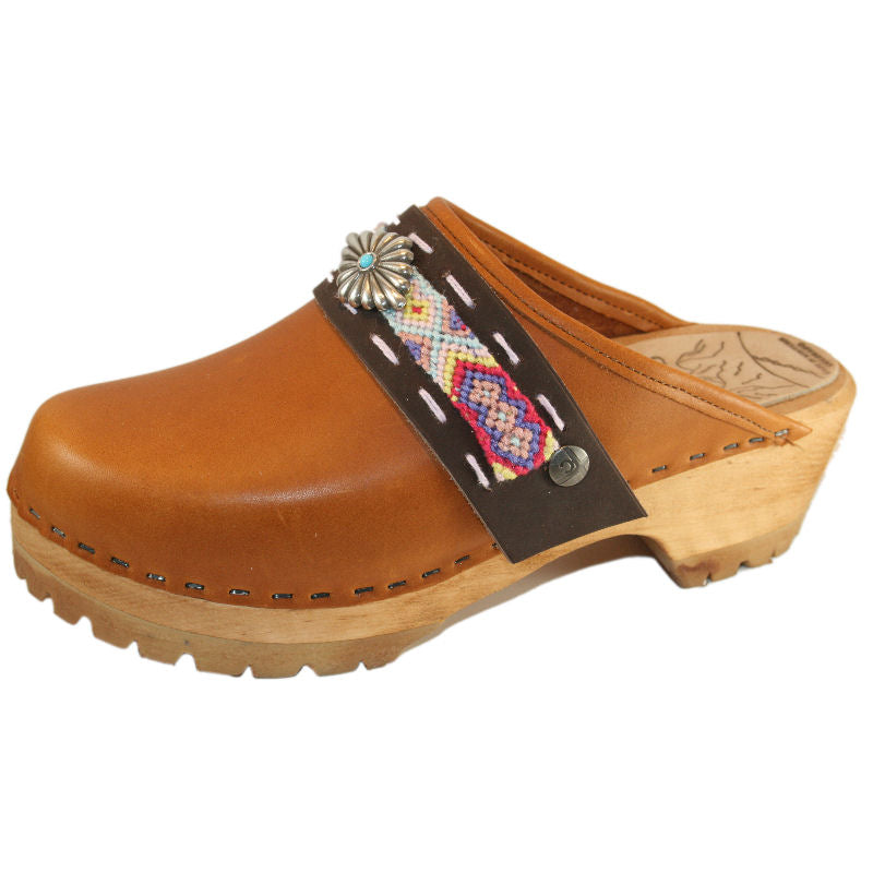Sunrise Oil Tanned Leather Mountain Clogs with Limited Edition Boho Strap Larkin Diamond