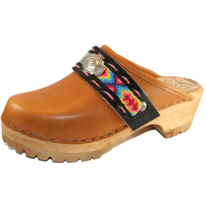 Sunrise Oil Tanned Leather Mountain Clogs with Limited Edition Boho Strap Mirabelle