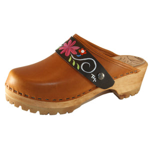 Sunrise Oil Tanned Leather Mountain Clogs with Hand Painted Patti Strap