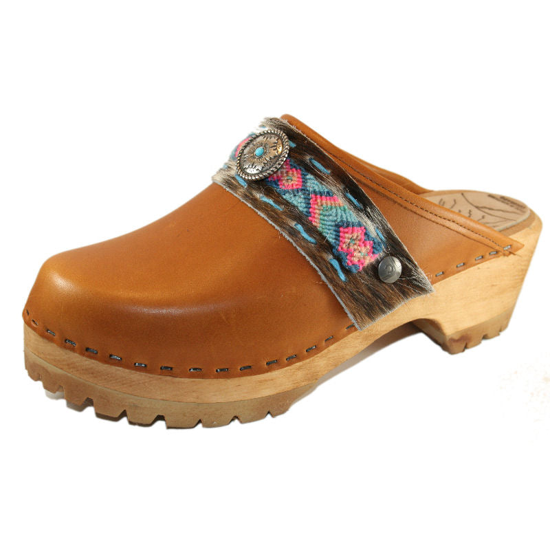 Sunrise Oil Tanned Leather Mountain Clogs with Limited Edition Boho Strap Pony Willow