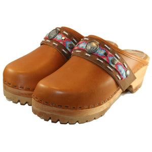 Mountain Sole Clogs In Sunrise Oil Tanned Leather with Limited Edition Boho Strap Clementine