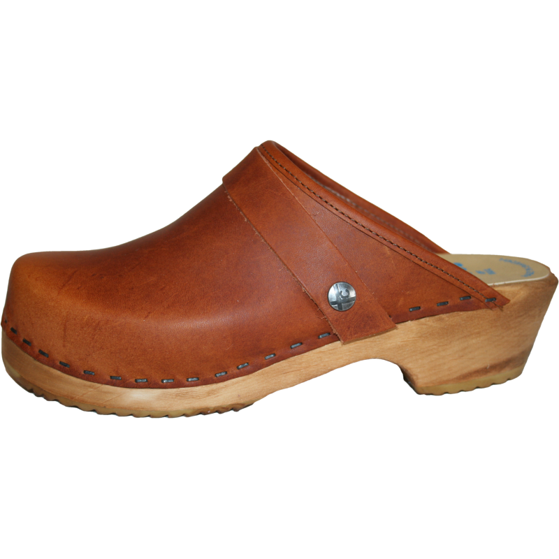 Children's Tessa Clogs in a Solid Sunrise Oil Tan
