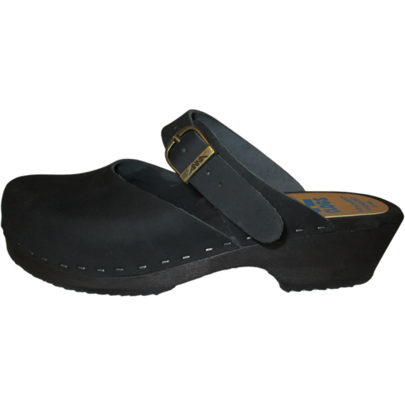 Traditional Heel Minna Sandal in Black Oil