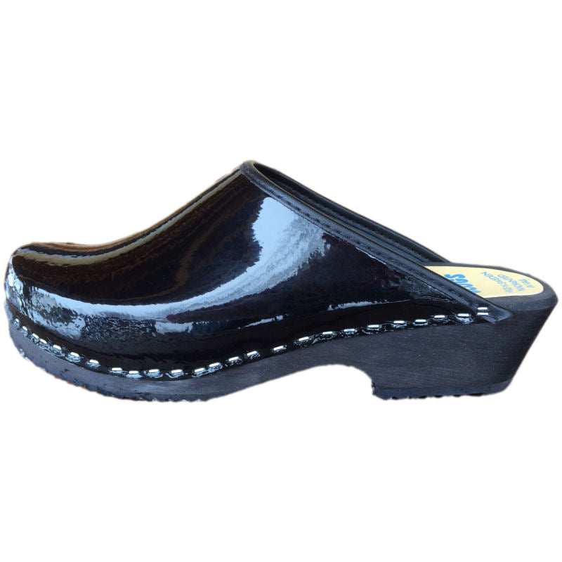 swedish clog black patent, Traditional Heel Black Patent