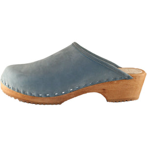 Traditional Heel Faded denim Nubuck Clog