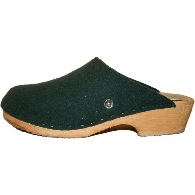 Traditional Heel Felt Wool Hunter Green Tessa Clog