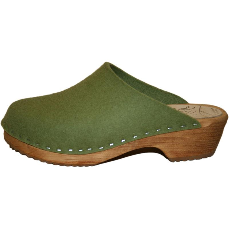 Traditional Heel Felt Wool in Olive Green Tessa Clog