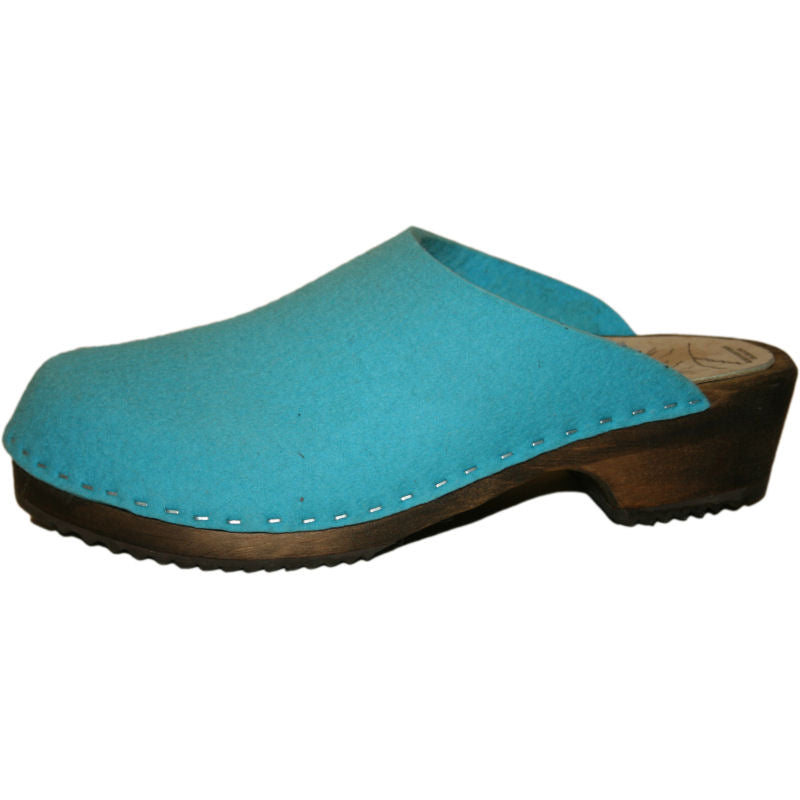Tessa Traditional Heel Felt Wool Clog in Turquoise