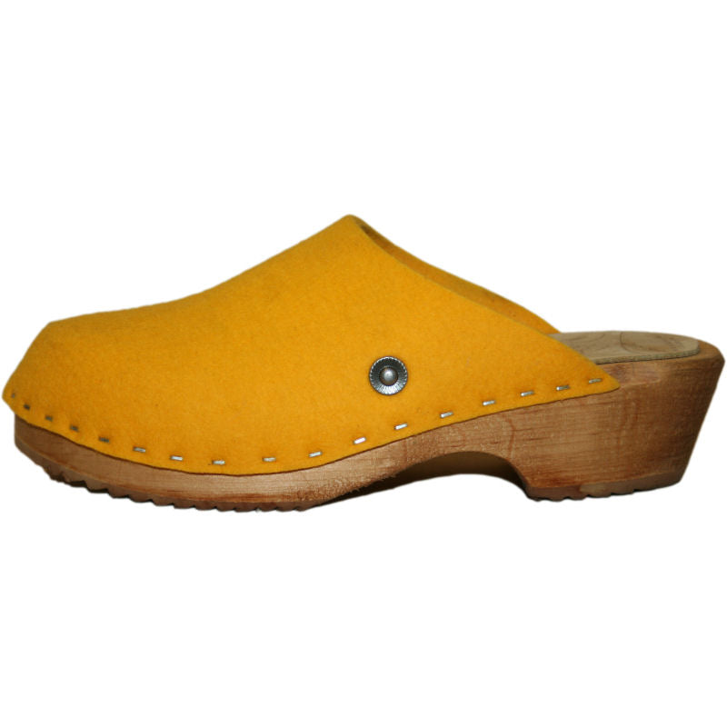Traditional Heel Tessa Clogs in Yellow Felt Wool