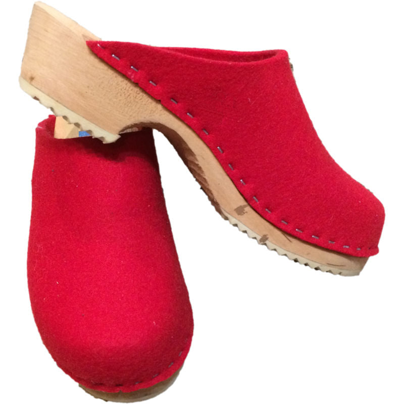 Tessa Traditional Heel Fire Engine Red Felt Wool Clogs