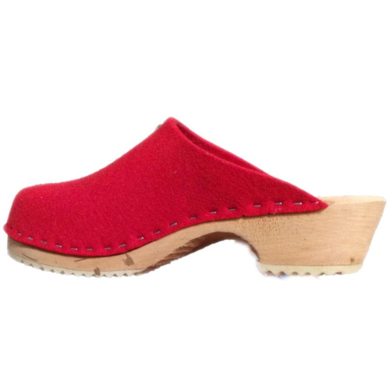 Tessa Clogs Traditional Heel Fire Engine Red Felt Wool
