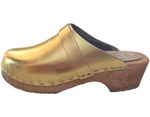 Traditional Heel Gold Tessa Clogs