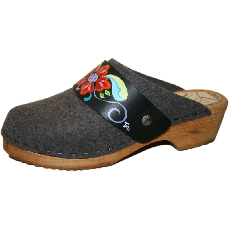 Tessa Traditional Heel Gray Felt Wool Clog with hand painted Black Petra Strap