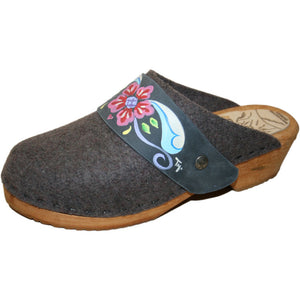 Tessa Traditional Heel Gray Felt Wool Clog with hand painted Denim Petra Strap