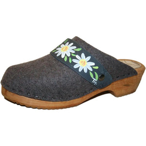 Traditional Heel Tessa Clogs in Gray Felt with hand painted Denim Daisy Strap